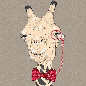 Closeup retrato de gracioso hipster jirafa