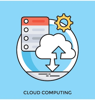 Cloud computing flat vector icon