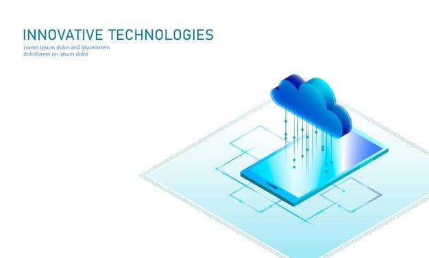 Cloud computing en línea de almacenamiento de teléfonos inteligentes isométricos. big data information futuro tecnología de negocios de internet moderna. ilustración de fondo disponible de intercambio de archivos global azul brillante