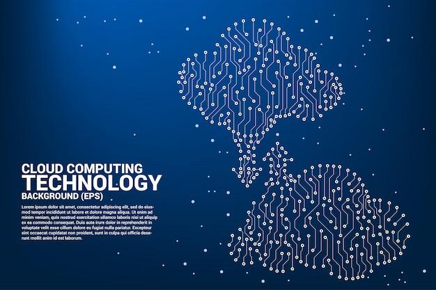 Cloud computing red tecnología placa de circuito estilo gráfico