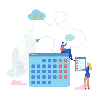 Cloud service online calendar vector illustration