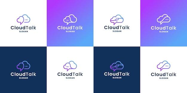 Cloud talk, bubble chat y cloud combinan la colección de diseño de logotipos para una empresa de tecnología