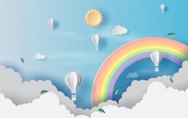 Cloudscape vista paisaje con globos de aire caliente