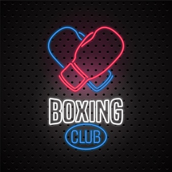 Club de boxeo con letrero de neón.