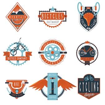 Club de ciclismo etiquetas conjunto de emblemas.