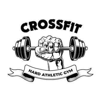 Club de fitness atlético duro. emblema vintage de gimnasio, brazo de culturista con barra