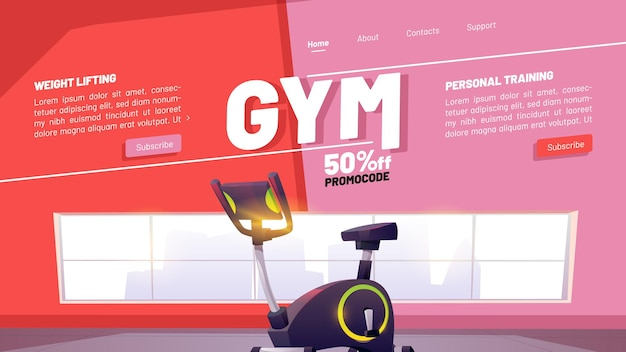 Club de fitness y banner de entrenamiento en línea