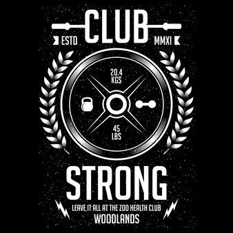 Club fuerte, diseño de ilustración deportiva