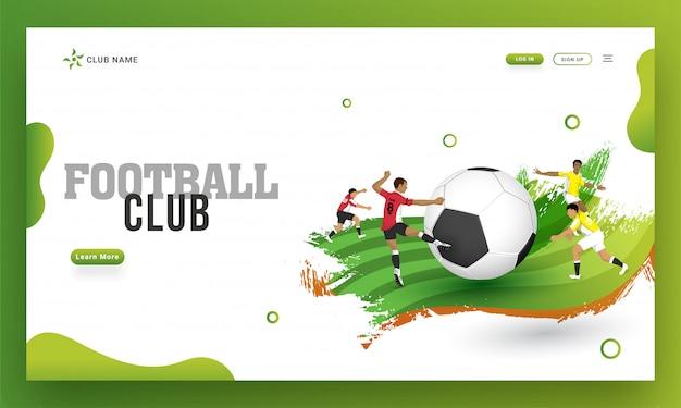 Club de fútbol diseño de página de aterrizaje, ilustración de jugador de fútbol