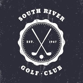 Club de golf, emblema vintage grunge, logotipo, insignia, ilustración