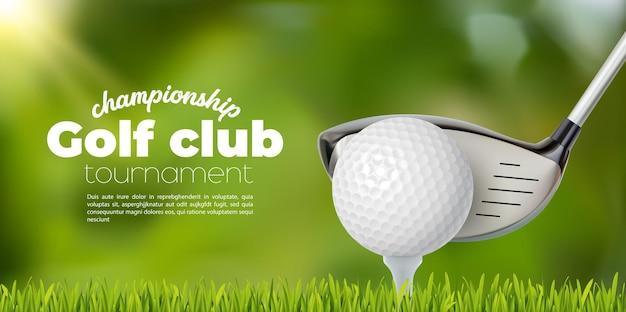 Club de golf y tee de pelota en campo de hierba, fondo de cartel de torneo de deporte de vector. campeonato de golf o banner de evento de competencia por equipos con pelota de golf y palo sobre fondo de campo de putter verde