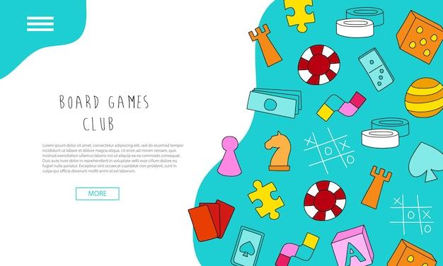Club de juegos de mesa - banners de texto. página de destino dibujada a mano - comunidad de juegos de mesa. estilo de dibujos animados coloridos