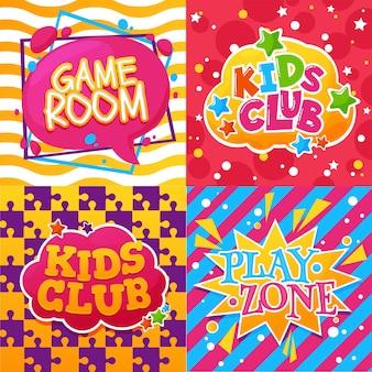 Club de niños, sala de juegos y carteles de dibujos animados de la zona de juegos de actividades de educación infantil