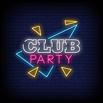 Club party neon signs style text