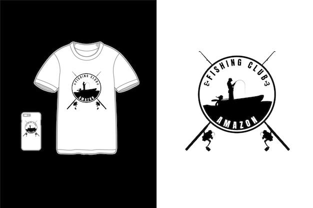 Club de pesca, diseño de camiseta.