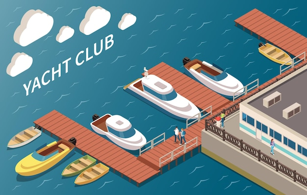 Club de yates de lujo, veleros y embarcaciones a motor, instalaciones de amarre, edificio de esquina, vista al mar, composición isométrica vector gratuito