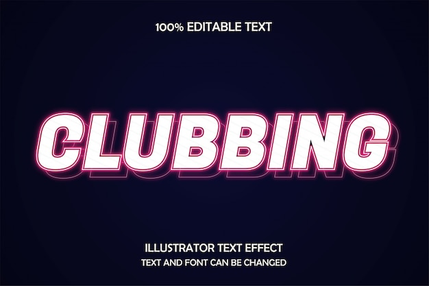 Clubbing, estilo de neón de capa de efecto de texto editable
