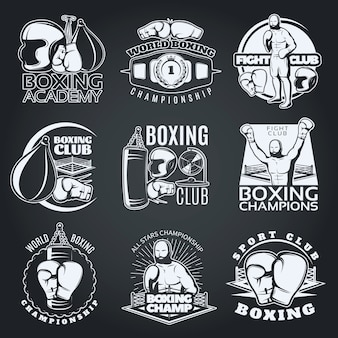 Clubes de boxeo y competiciones emblemas monocromos con guantes deportivos, sacos de boxeo