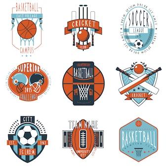 Clubes deportivos etiquetas iconos conjunto