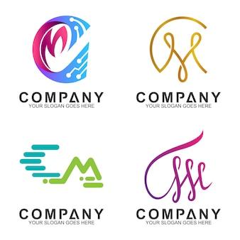 Cm monograma inicial / carta diseño de logotipo de empresa