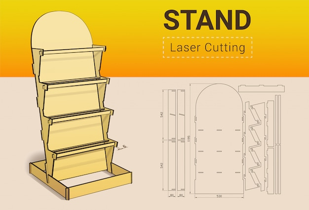Cnc. vitrina de corte por láser. corte con laser. no necesita pegamento