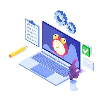 Cncept de gestión del tiempo, aplicación de programación empresarial.