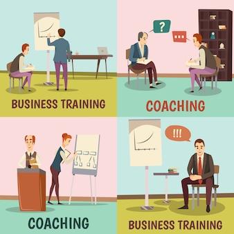 Coaching concepto iconos conjunto con símbolos de formación empresarial plana aislados