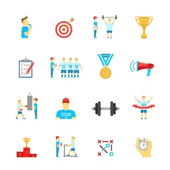 Coaching conjunto de iconos de deporte
