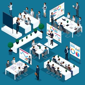 Coaching empresarial aislado, personas isométricas, concepto de persona en 3d con diferentes formas de capacitación y desarrollo, el proceso comercial de los empleados jóvenes