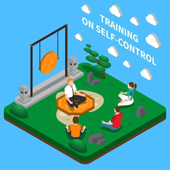 Coaching empresarial centrado en la composición isométrica de autocontrol con entrenamiento de meditación en posición de loto de yoga