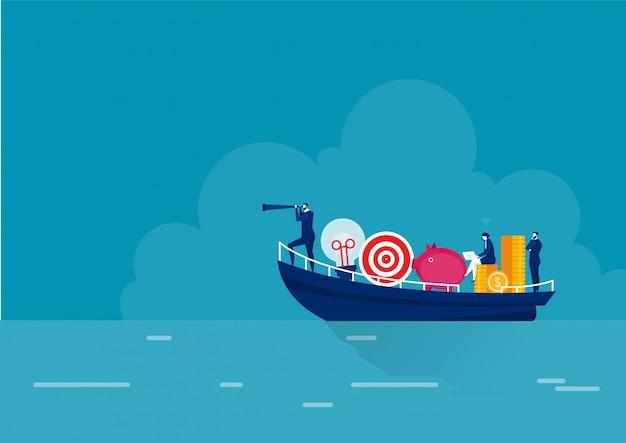Coaching empresarial, liderazgo y orientación. concepto de estrategia de planificación.