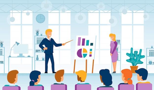 Coaching empresarial y seminario conferencia vector plano