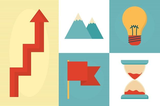 Coaching iconos en colores de fondo