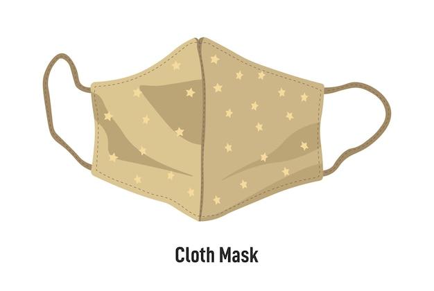Cobertura facial hecha a mano para el brote de coronavirus y el cuidado personal durante la pandemia. icono aislado de máscara de tela facial con correas ajustables. textil y ecológico. medidas de protección, vector en plano