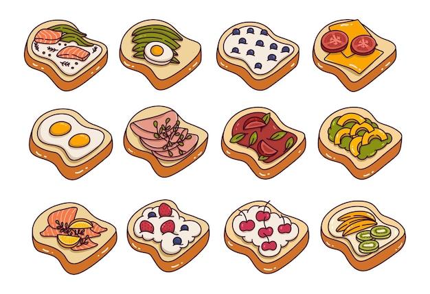 Coberturas de pan tostado doodle ilustración vectorial