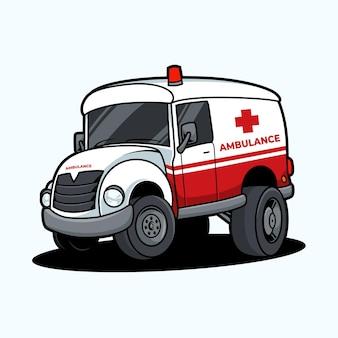 Coche de ambulancia en blanco