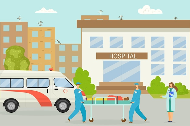 Coche de ambulancia cerca del hospital ilustración vectorial atención médica para el servicio de emergencia del paciente co ...