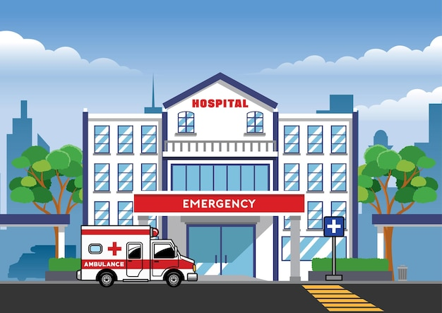 Coche de ambulancia en frente del edificio del hospital