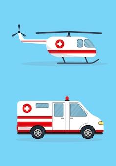 Coche de ambulancia y helicóptero aislado sobre fondo azul.