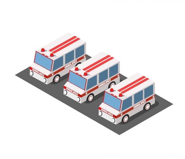 Coche de ambulancia isometrico