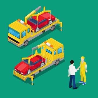 Coche de asistencia en carretera de asistencia en coche isométrica