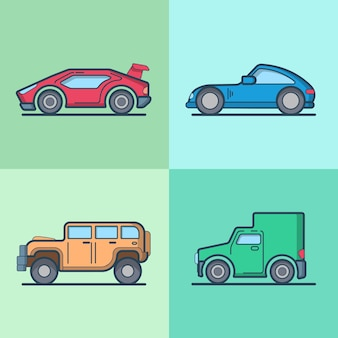 Coche automóvil deportivo superdeportivo roadster jeep van fresco conjunto de transporte