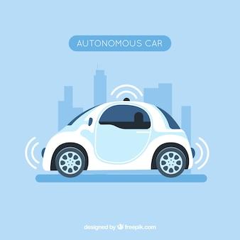 Coche autónomo futurista con diseño plano