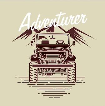 Coche de aventurero frente a la montaña