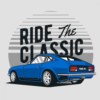 Coche de carreras clásico azul