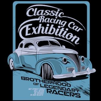 Coche de carreras clásico, ilustración vectorial de coche