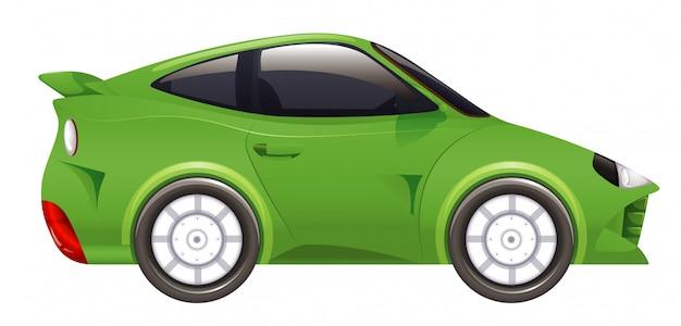 Coche de carreras en color verde en aislado