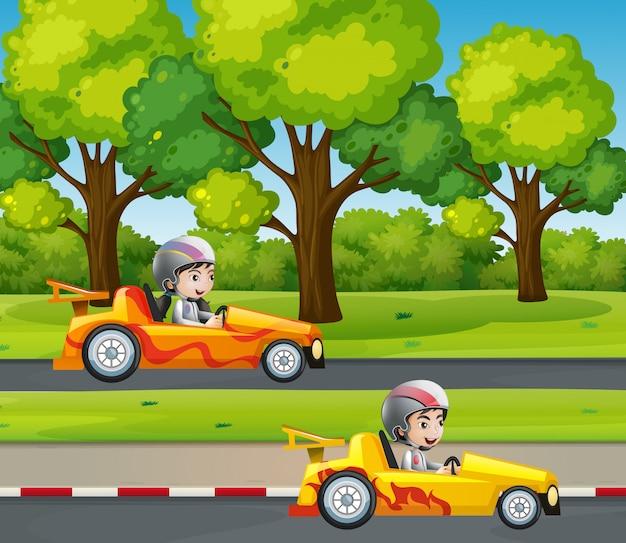 Coche de carreras de dos corredores en la carretera