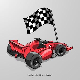 Coche de carreras de fórmula 1 dibujado a mano