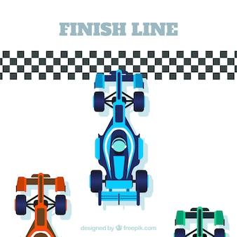 Coche de carreras de fórmula 1 con diseño plano en la línea de meta